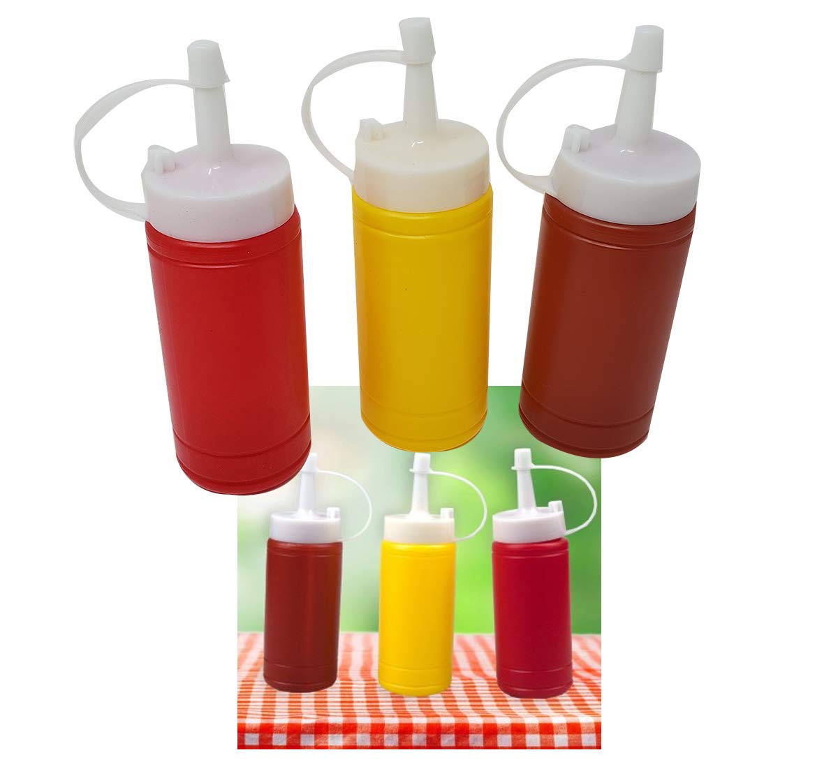 Mini Condiment Dispenser Set Ketchup, Mustard & BBQ sauce (12 bottles) squeeze bottles 6 Oz. by aaco (Image #4)