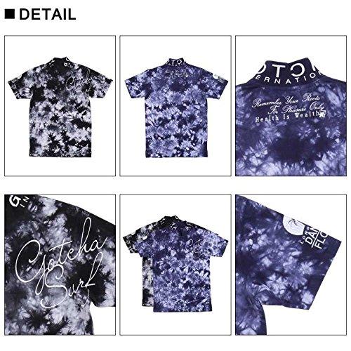(ガッチャ ゴルフ) GOTCHA GOLF ポロシャツ 跨ぎ 刺繍 ムラ染め ポロ 182GG1201 ブラック Mサイズ