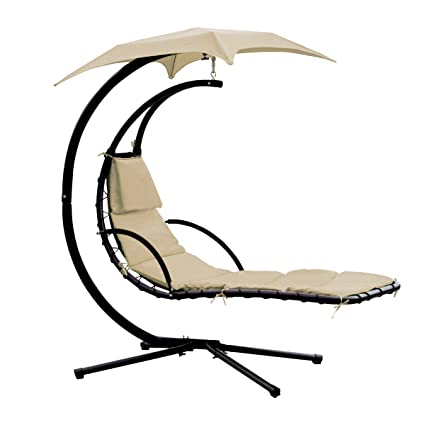 Yontree Hanging Chaise Sun Lounger Chair Air Porch Hammock Swing Chair Stand  265LBS Capacity Beige