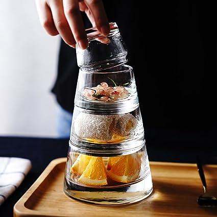 Galiware 4 piso apilado tazón de vidrio conjunto de frutas resistentes al calor postre tazón taza