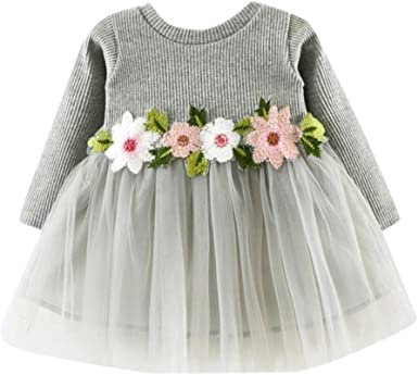 Toddler Infant Kids Baby Girls Flower Rose Denim Long Sleeve Princess Dress Outfits Dream Room Dresses