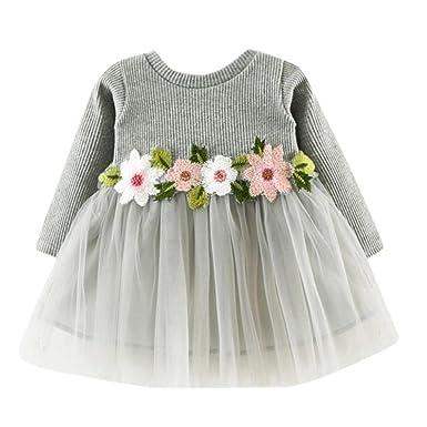 7da7f8dc9548 Amazon.com: Girls Tutu Dresses Toddler Kids Baby Shirt Long Sleeve Flower  Splice Party Tops Princess Clothes: Clothing