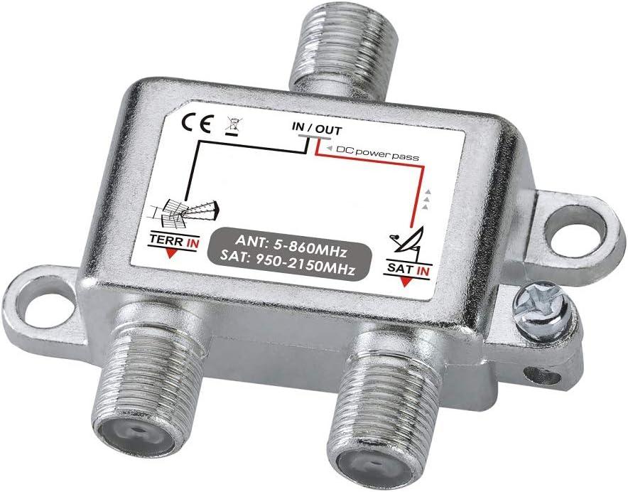 Acoplador de TV/Sat para acoplar su Antena TDT y parabólica a 1 Cable