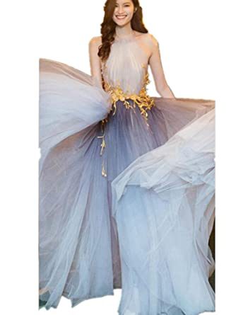 Formaldresses Light Grey Designer Evening Dress Prom Formal Women Dress Open Back Ombre Tulle with Lace at Amazon Womens Clothing store: