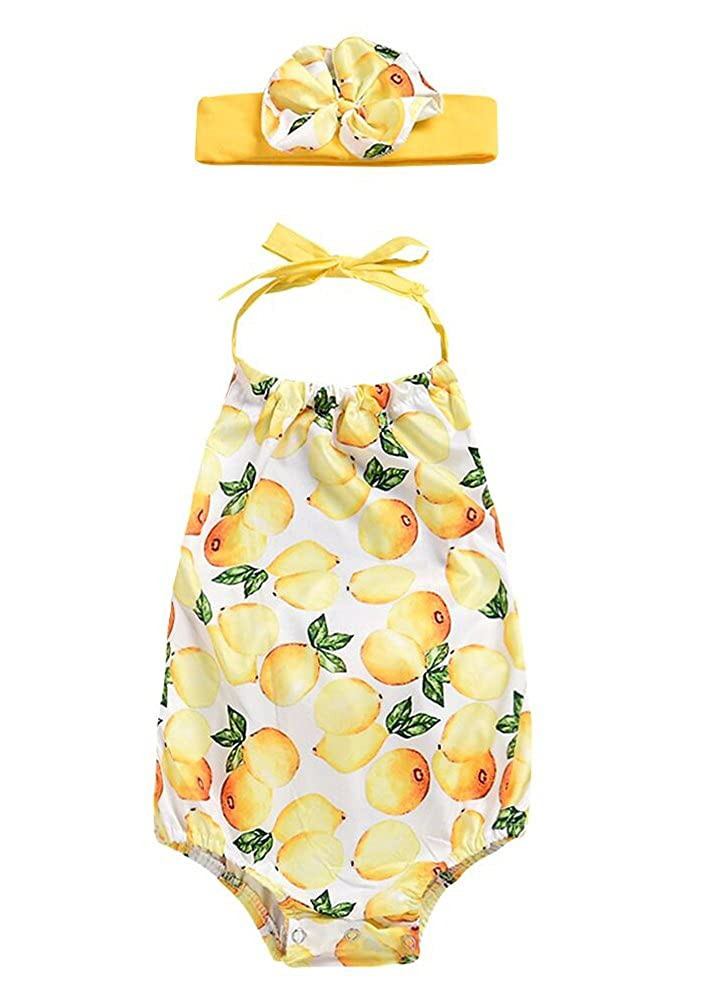 6ac6e706745849 Infant Baby Girl Lemon Print Tops Shorts Briefs Pant Two Piece Outfit Set  ...