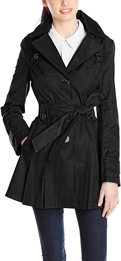 INVOLAND Plus Size Trench Coats for Women Lightweight Wrap Notched Lapel Jacket with Self-Tie