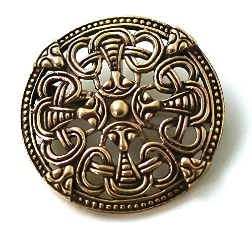 Bronze Gold Viking Shield Brooches ,Clothes Fasteners - Cloak, Shawl, Scarf Pin, Norse Vintage ()