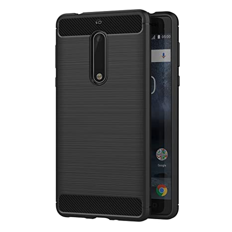 MaiJin Funda para Nokia 5 (5,2 Pulgadas) TPU Silicona Carcasa Fundas Protectora con Shock Absorción y Diseño de Fibra de Carbon (Negro)