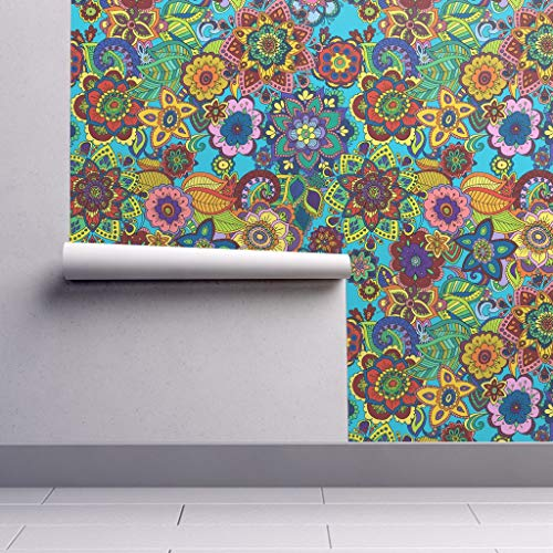 Peel-and-Stick Removable Wallpaper - 60S 60S Colorful Doodle 1960S Mod Retro Vintage Psychedelic 60S Retro by Woodledoo - 24in x 108in Woven Textured Peel-and-Stick Removable Wallpaper Roll (70s Retro Wallpaper)