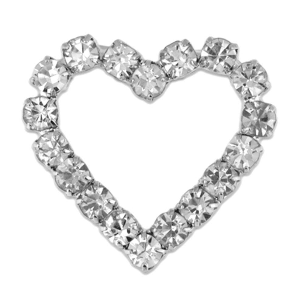 PinMart's Clear Rhinestone Heart Valentine's Day Brooch Pin