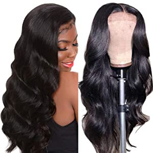 Human Hair Wigs Lace Closure Body Wave 4X4 Brazilian Unprocessed Remy Hair Free Part Pre Plucked With Baby Hair 150 Density (14 Inch, Natural Color)