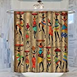 Shower Curtains with Red in Them Afro African American History Art Decor Shower Curtain Collection by Afrocentric Artwork Women in Tribal Dresses Carrying Water Patterned Shower Curtain W36 x L72 Camel Red Green Brown