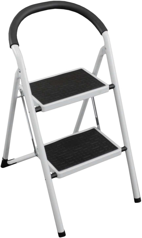 Escalera plegable de plástico con cojines de 2 niveles Acero Color Blanco – Escalera escalera escalera escalera multiusos Escalera de 2 peldaños con taburete: Amazon.es: Hogar