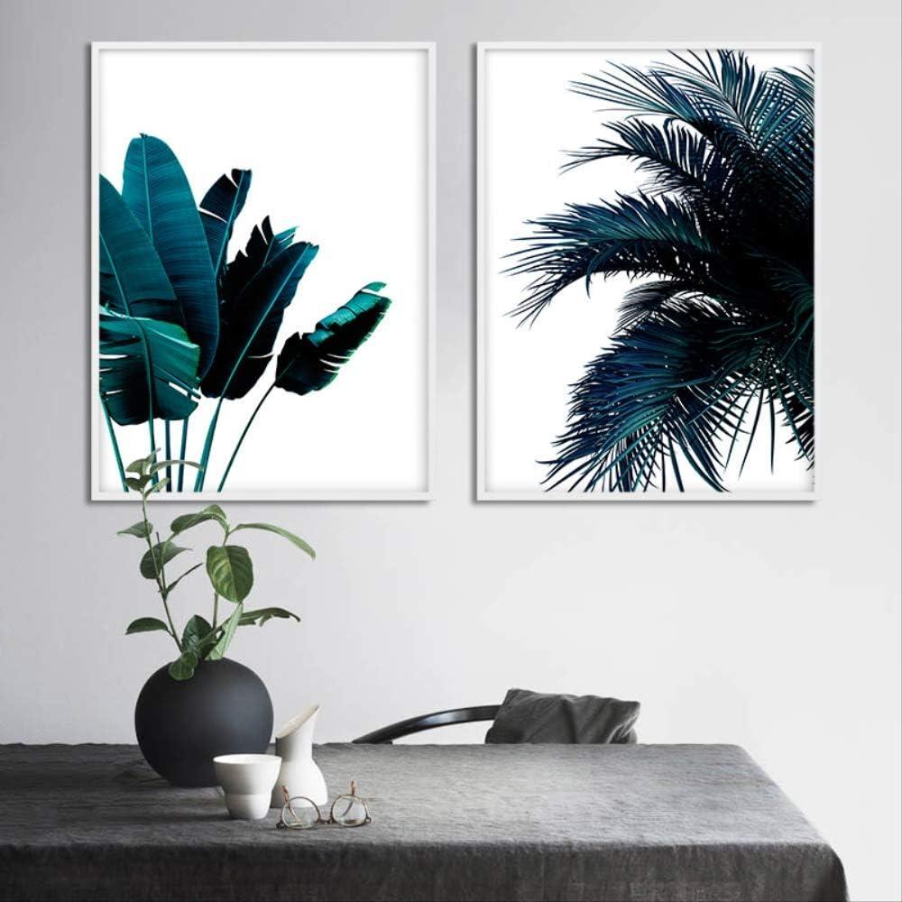 LWJZQT Cuadro sobre Lienzo 2 Piezas Plátano Azul Hoja De Palmera Cartel Abstracto Botánico Lienzo Impresión Estilo Nórdico Pintura Imagen Creativa Decoración Moderna del Hogar 60X80cm