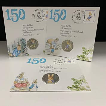 2018 2017 Beatrix Potter Coin Collection 2016 Peter Rabbit 50p Coin Covers