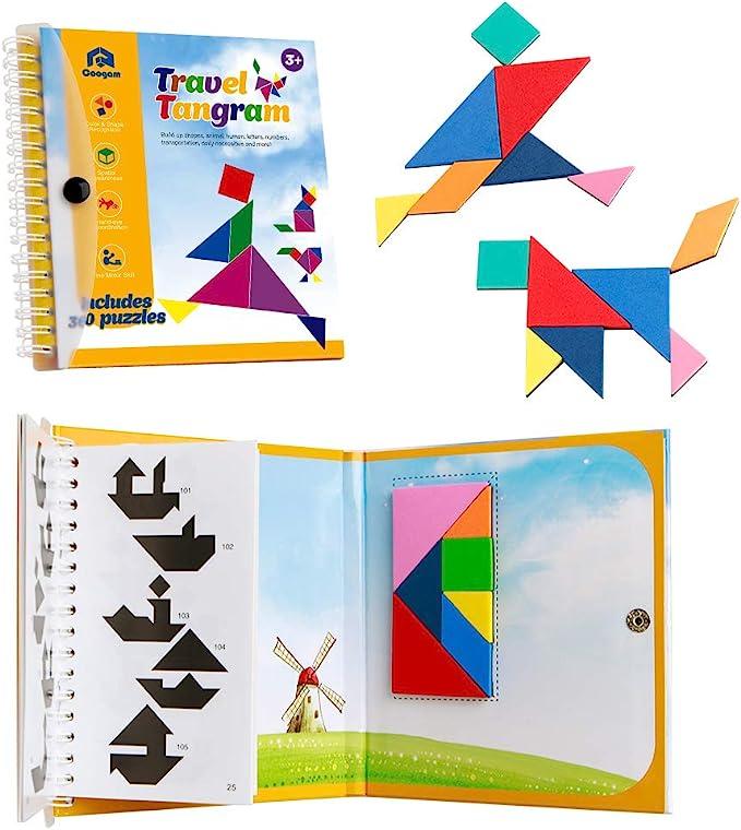 Coogam Viaje magnético Tangram Puzzles Libro Juego Tangrams Jigsaw Formas Disección con Solución para Niños Adulto Holiday Traveler Tangoes Challenge IQ Educational Toy (360 Patrones): Amazon.es: Juguetes y juegos
