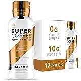 Kitu Super Coffee, Keto Protein Coffee (0g Added Sugar, 10g Protein, 70 Calories) [Caramel] 12 Fl Oz, 12 Pack   Iced Smart Co