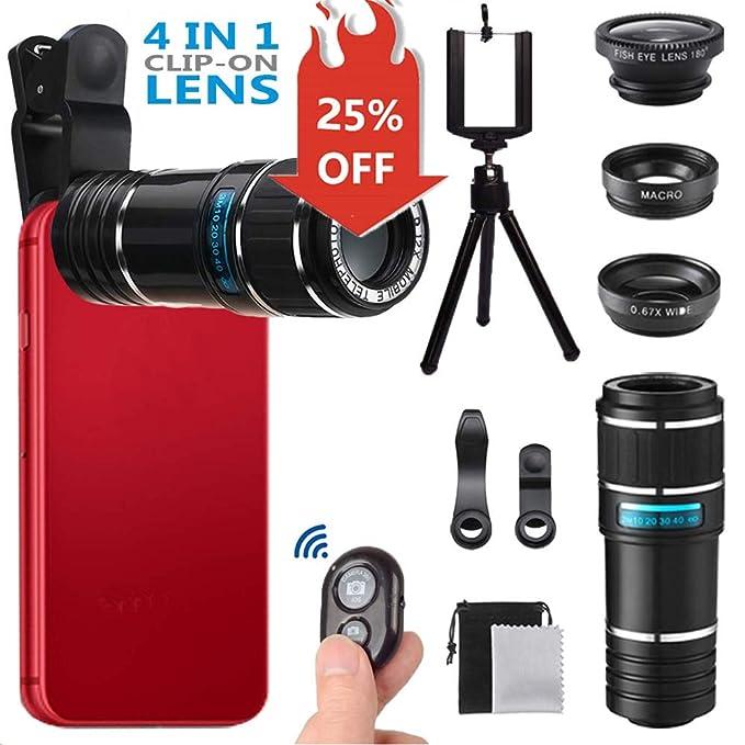 Phone Camera Lens for Iphone , MSDADA Telephoto Lens Kit, 12X Optical  Telescope, Fisheye, Wide Angle and Macro Lens, Retractable Tripod with  Bluetooth