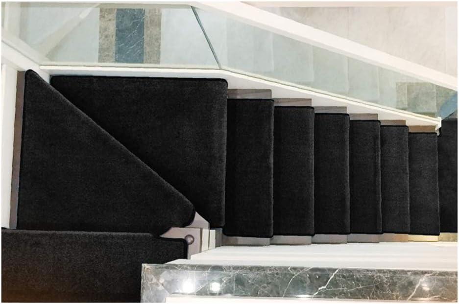 GYL Alfombras de escalera Alfombras de Escalera, Color Pegamento Libre Oscuro Negro Inicio Escalón Alfombra Antideslizante Manta Silencio Suciedad-resistente Stepping Sólido Alfombras para escaleras: Amazon.es: Hogar