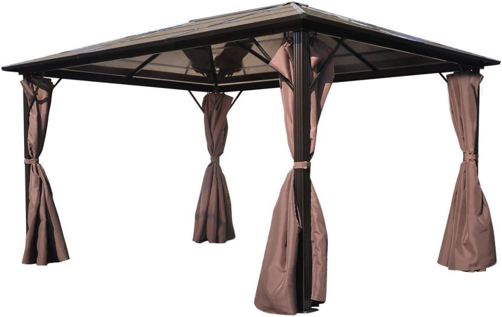 Anself - Cenador con cortinas marrones, resistente a la intemperie ...