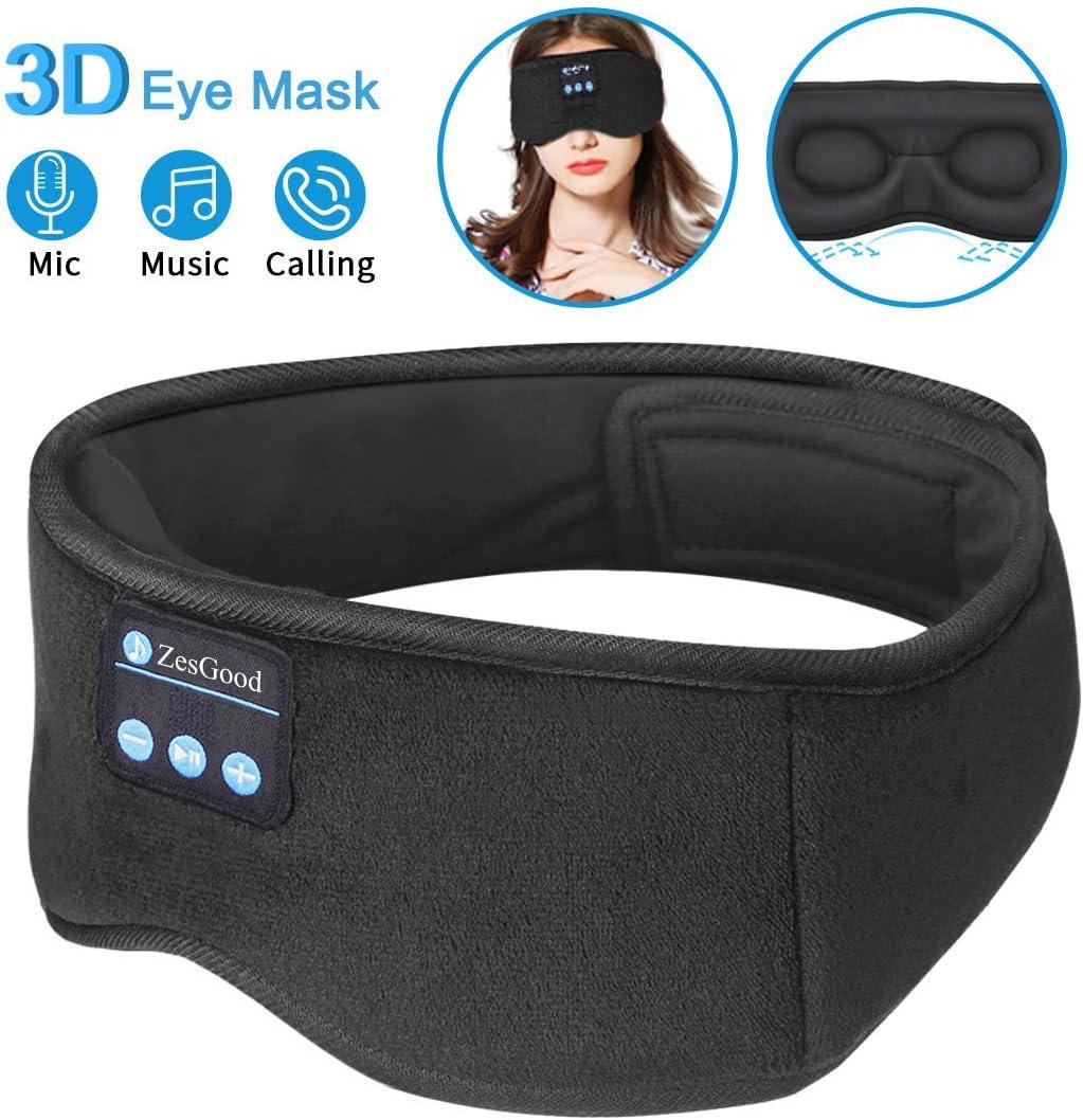 Sleep Headphones Bluetooth Eye Mask,ZesGood 3D Bluetooth 5.0 Wireless Sleep Mask,Washable Adjustable Travel Music Handsfree Sleeping Headset with Built-in HD Speaker and Micro for Side Sleepers
