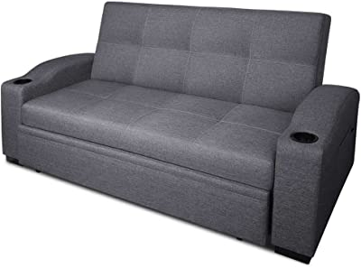 3 Seater Sofa With Cup Holder In Faux Linen Fabric