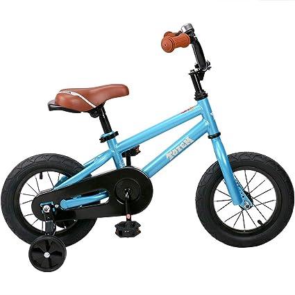 JOYSTAR Kids Bike for Girls & Boys, Training Wheels for 12 14 16 inch Bike, Kickstand for 18 inch Bike (Blue Beige Red Silver)