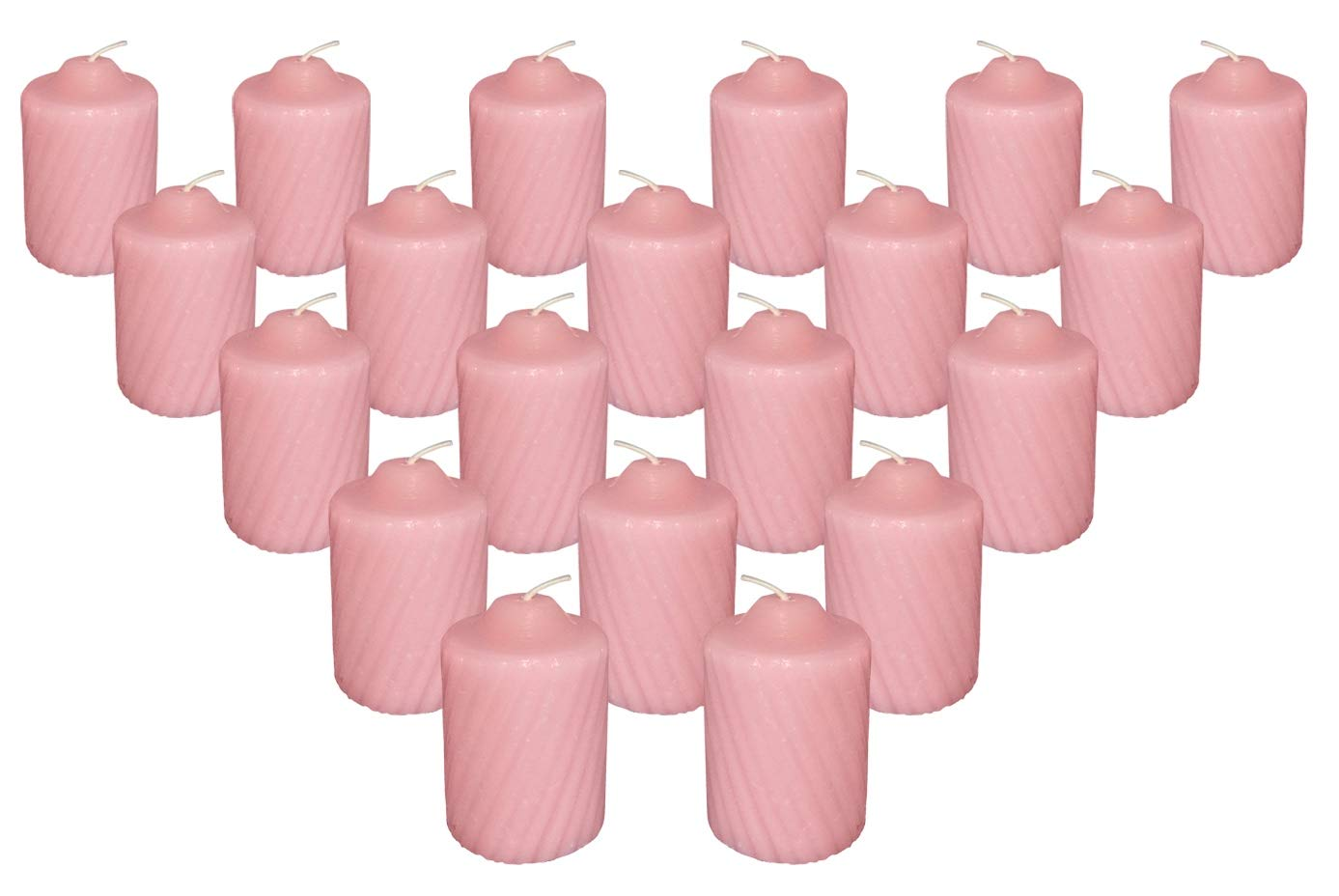 15 Hour Scented Votive Candles 20 Candles Per Box with Texured Finish (Pink Wild Flower Scent)