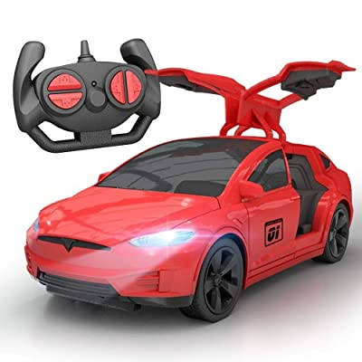 Ycco Tesla electric toy car children's wireless remote control racing drift open door sports model RC Children Electric Car Sports Shock Remote Control Dasher Stunt Vehicle Children's Toy Flashing Lig: Toys & Games