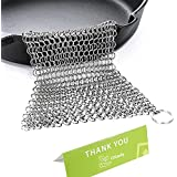 Cast Iron Cleaner Stainless Steel 8x6 Large Chainmail Scrubber for Lodge Cast Iron Skillet, Dutch Oven, Griddle, Grill Pan, Cookware & Pot. Tired of Dirty Sponges? Try Eco-Friendly Cast Iron Scraper!