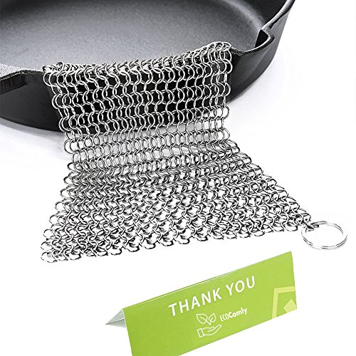 ainless Steel 8x6 Large Chainmail Scrubber for Lodge Cast Iron Skillet, Dutch Oven, Griddle, Grill Pan, Cookware & Pot. Tired of Dirty Sponges? Try Eco-Friendly Cast Iron Scraper! ()