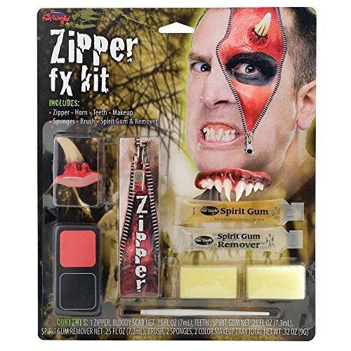 Zipper FX Kit - includes Zipper Horn Teeth Red Make up Black Make Up Sponges Brush Spirit Gum & Spirit Gum Remover Scary Teeth Horror Horns Scary Teeth Halloween Accessories -