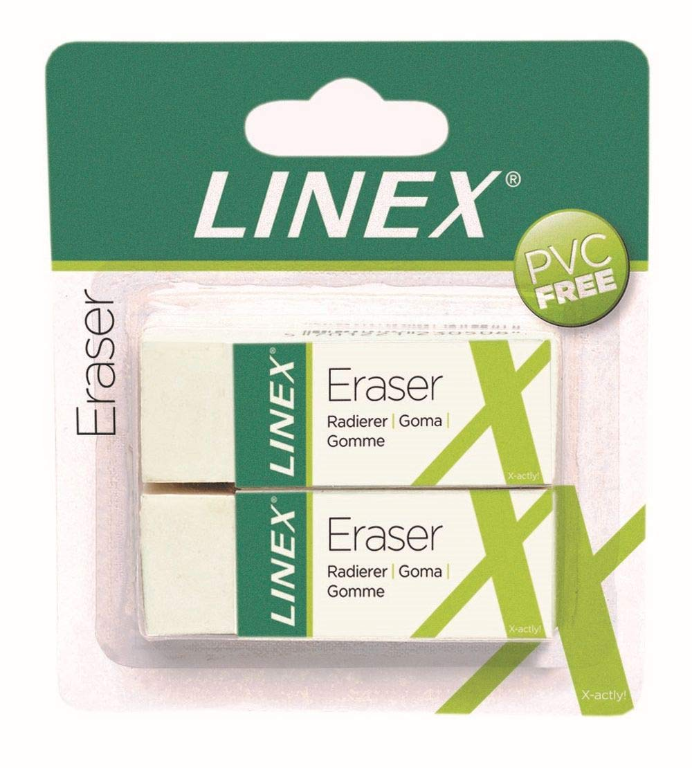 Linex ER30/2B 100417490 12 x Set of 2 Erasers Very Soft Plastic Eraser in White by Linex (Image #1)