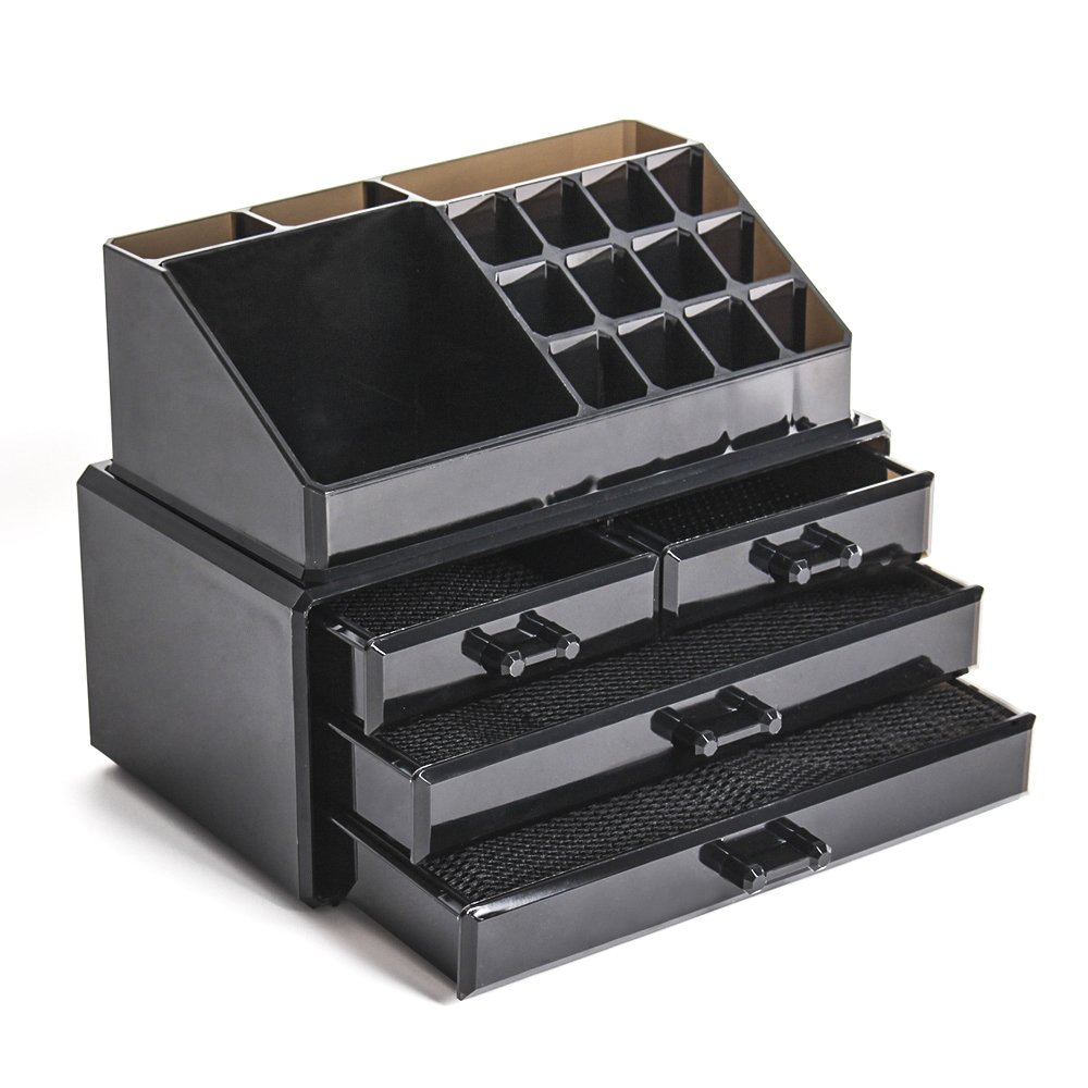 Display4top Jewellery Storage Box Acrylic Cosmetics Lipsticks Makeup Organizer Holder Box (4 Drawers Black) by Display4top