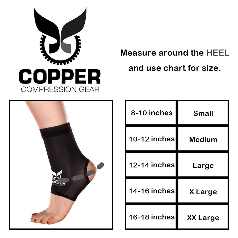 Copper Compression Gear PREMIUM Fit Recovery Ankle Sleeve - 100% GUARANTEED - #1 Ankle Brace/Support Sock/Wrap / Stabilizer For Men And Women by Copper Compression Gear (Image #2)