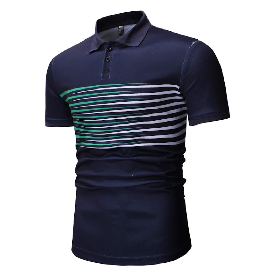 DressUMen Short Sleeve Lapel Gradient Plus-Size Striped Polo Shirt