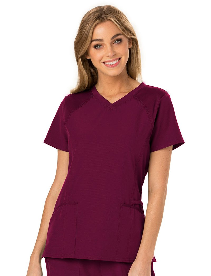 HeartSoul Break On Through by Women's Love 2 Love U V-Neck Solid Scrub Top X-Small Wine