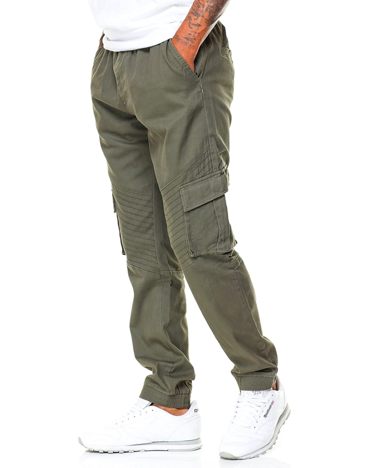 Pivaconis Mens Casual Straight Fit Drawstring Cargo Pants with Multi Pocket