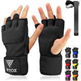 WYOX Boxing Wraps MMA Gloves Inner Boxing Gloves for Men Women Youth - EZ-Off & On - Thick Knuckle Padding - Breathable Fabri