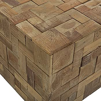 Beliani Rustic Solid Teak Wood Square Coffee Table Gambo
