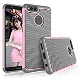 Tekcoo for Honor 7X Case, Tekcoo 2018 Huawei Mate SE Case for Girls, [Tmajor] Shock Absorbing [Baby Pink] Hybrid Rubber Silicone & Plastic Scratch Resistant Bumper Grip Hard Cute Sturdy Cases Cover