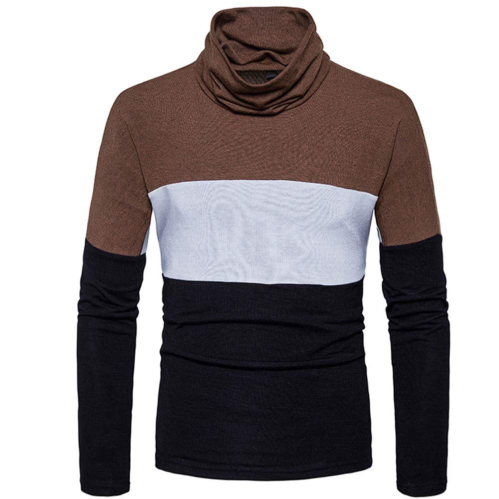 IEason Men Top Men's Winter Daily Casual Business Sweater Stitching Loose Pullover Sweater