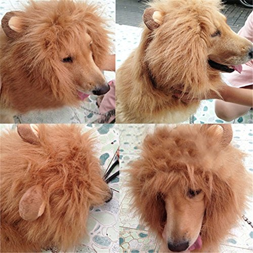Harukokoro(TM)Funny Pet Costume Pet Adjustable (Max Neck Circumference: 80cm, 31 incn)Dog Lion Mane Cosplay Scarf Wigs Mane Hair Fancy Dress For Festival, Party, (Flash Rubber Wig)