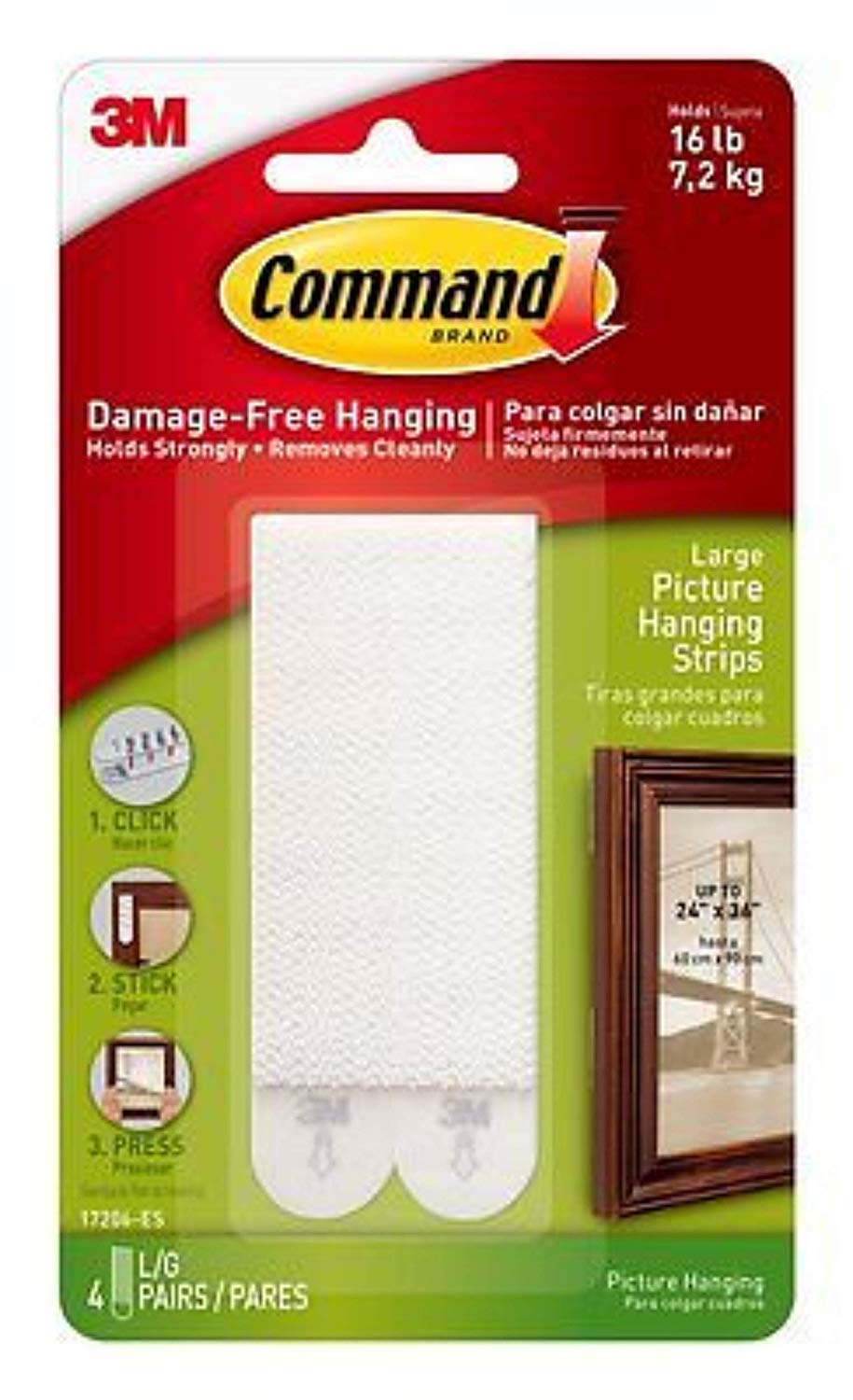 2XSmall and Medium Picture Hanging Strips Value Pack, 4 Pairs Small, 8 Pairs Medium-White Command