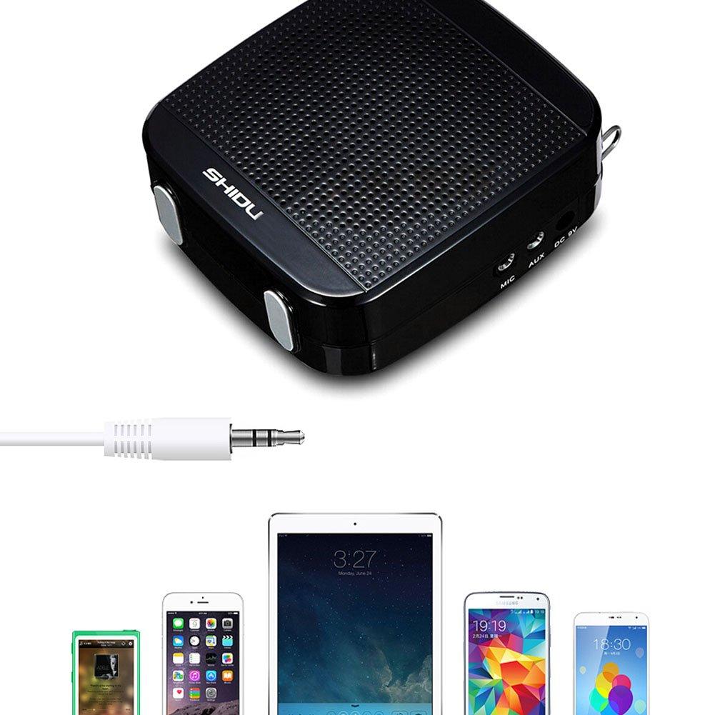 SHIDU Amplificador de voz (18 W) con 1200 mAh batería de litio y el micrófono con cable para profesores/Trainer/guía de viajes/Yoga Profesores y más ...