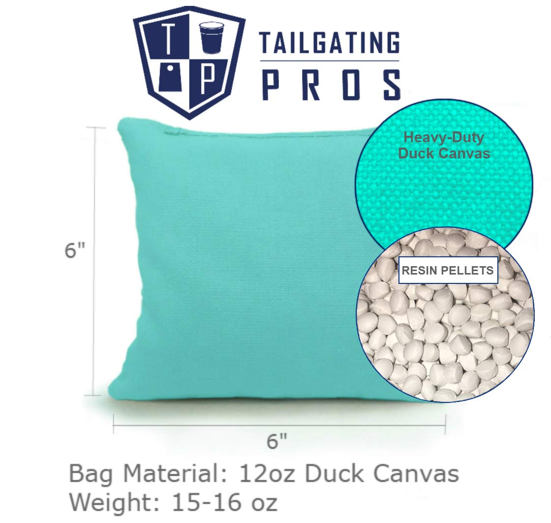 Tailgating Pros All Weather Cornhole Bags Pink//Lime Green 8 Resin Filled Regulation Duck Canvas Bags with Carrying Tote 23+ Colors