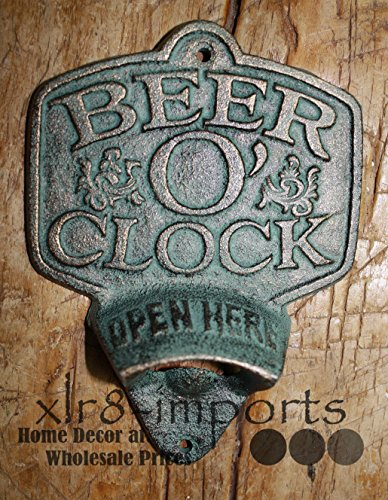 Price comparison product image was Manufactured to Look Antique Cast Iron Beer O Clock Plaque Open HERE Beer Bottle Opener Rustic Wall Mount Inspiration for A Project