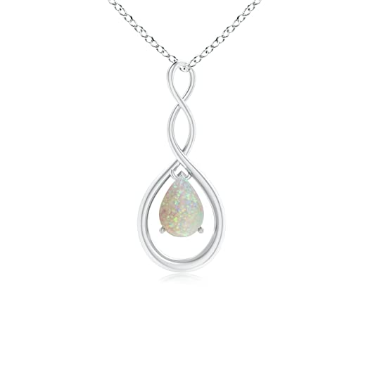 Angara Pear Shaped Opal Infinity Loop Pendant - October Birthstone Pendant cx3CcGOaoe