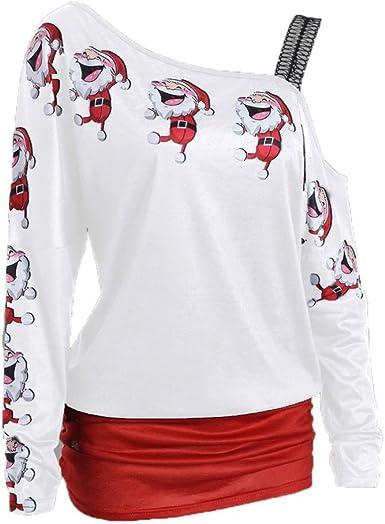 OverDose Camisas Mujer de Navidad Blusa Estampada navideña Elegante M/L/XL/XXL: Amazon.es: Ropa y accesorios