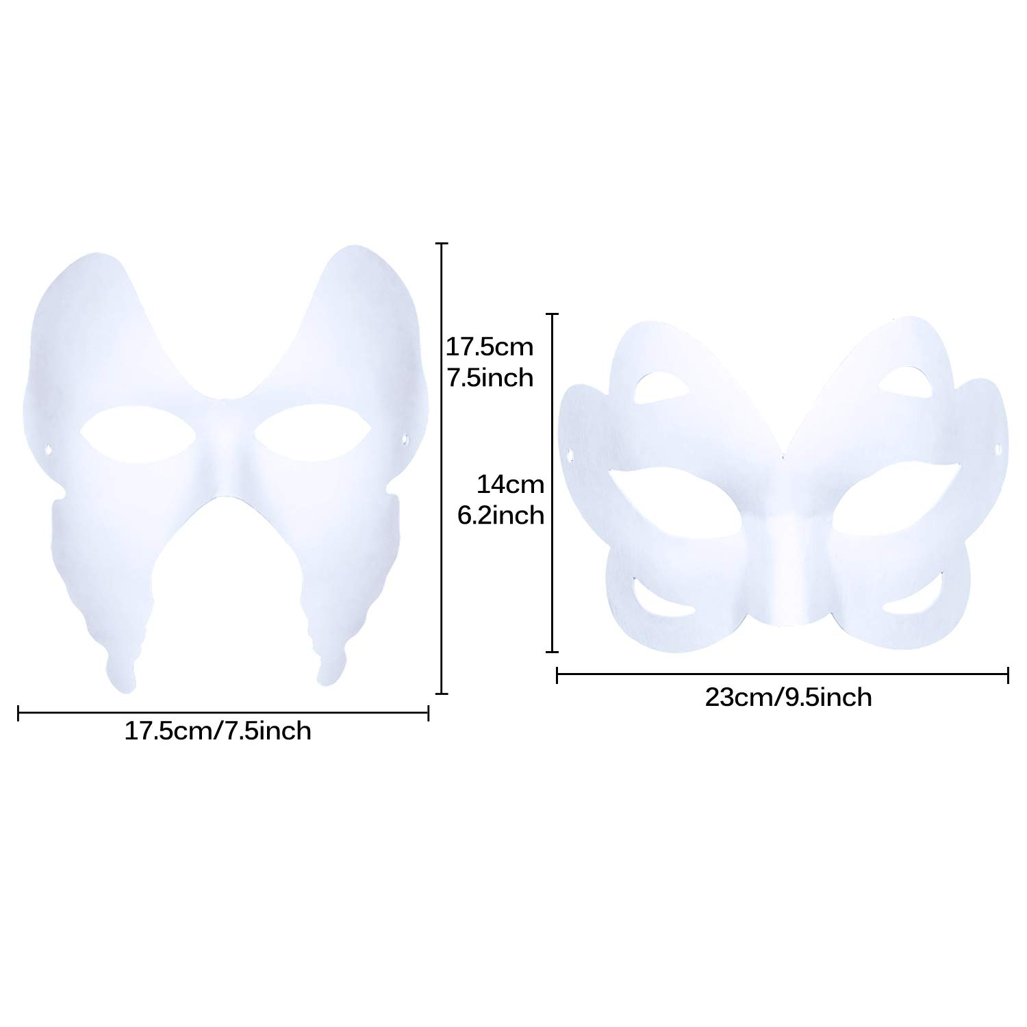 ZOYLINK White Mask, 12pcs Halloween Half Face Mask White Paper Mask DIY Mask Dance Cosplay Party Masquerade White Face Mask Halloween Masked for masquerade mardi gras fashion shows costume party